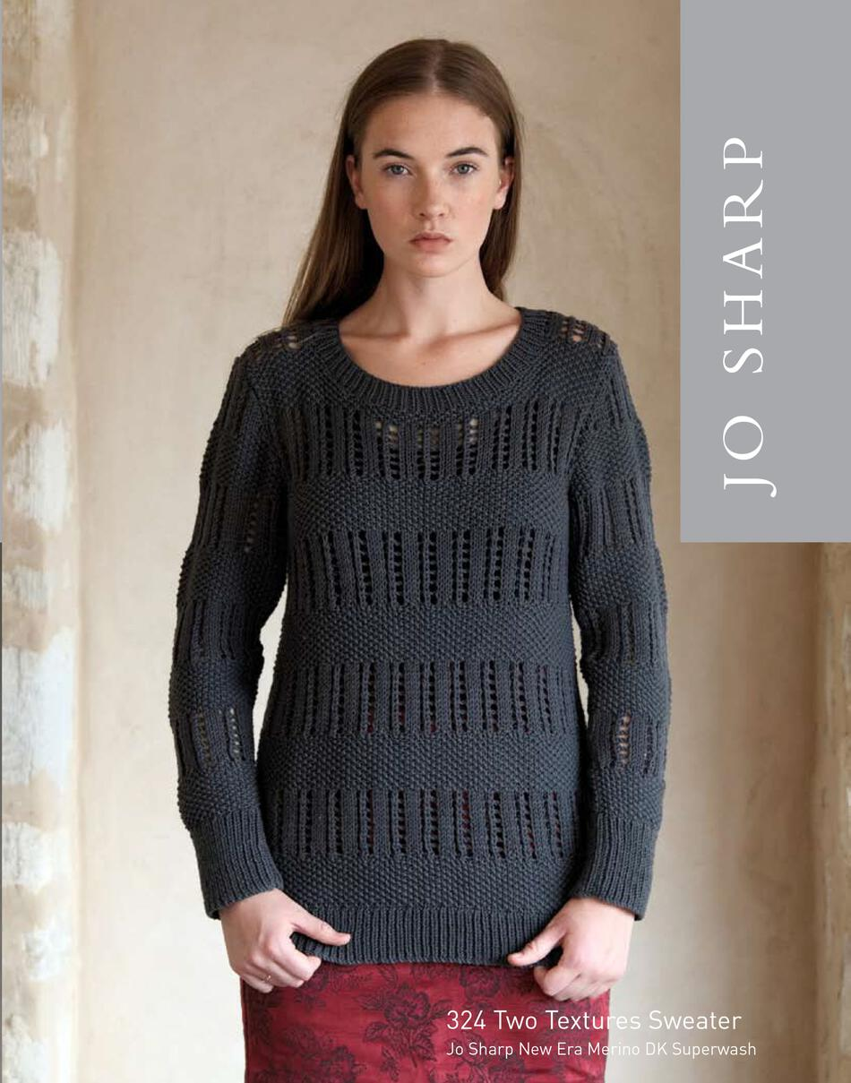 Knitting Patterns Jo Sharp Two Textures Sweater  Pattern