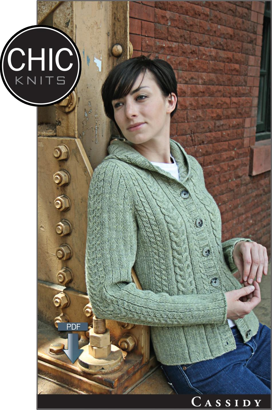 Chic Knits Cassidy Hooded Cardigan - Pattern download, Knitting ...