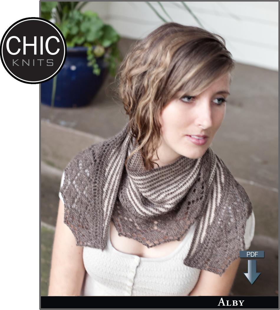 Knitting Patterns Chic Knits Alby Shawl  Pattern download