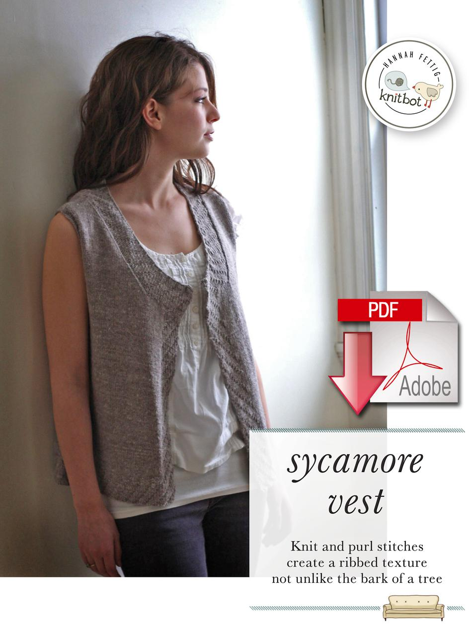Knitting Patterns Knitbot Sycamore Vest  Pattern download