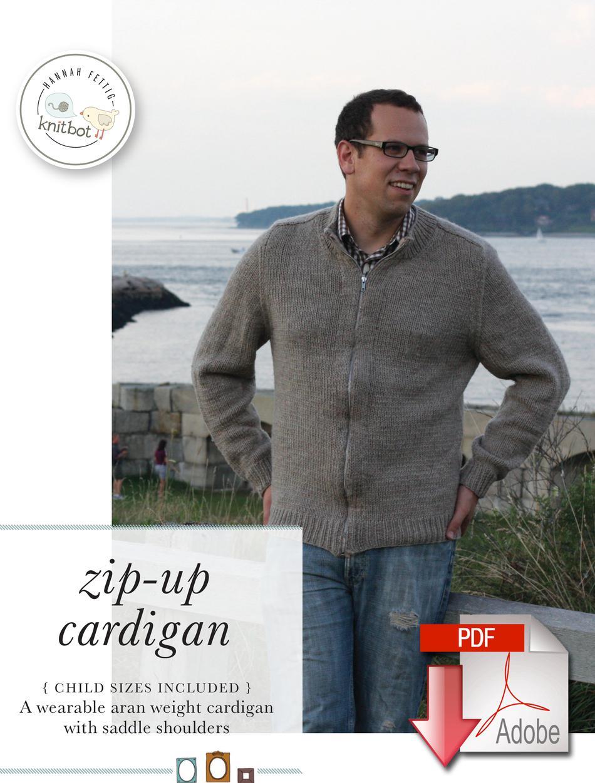 Knitbot Zip-Up Cardigan - Pattern download, Knitting ...
