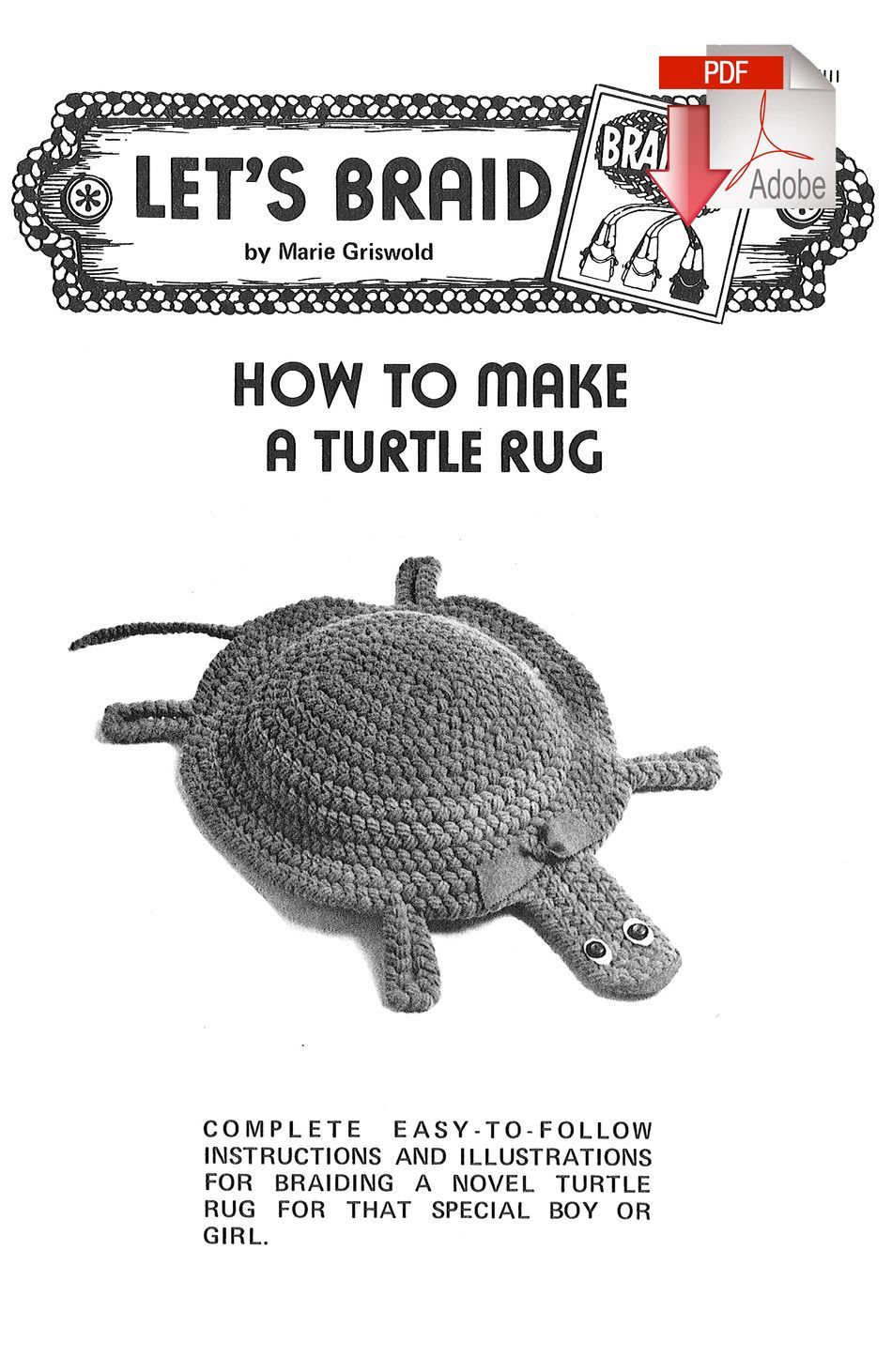 Rug Making Books How to Make a Braided Turtle Rug  Pattern download