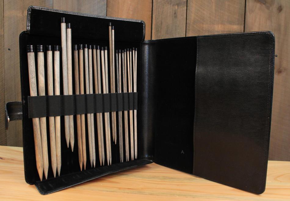 Knitting Needle Case Leather : Lykke quot straight knitting needle set black faux