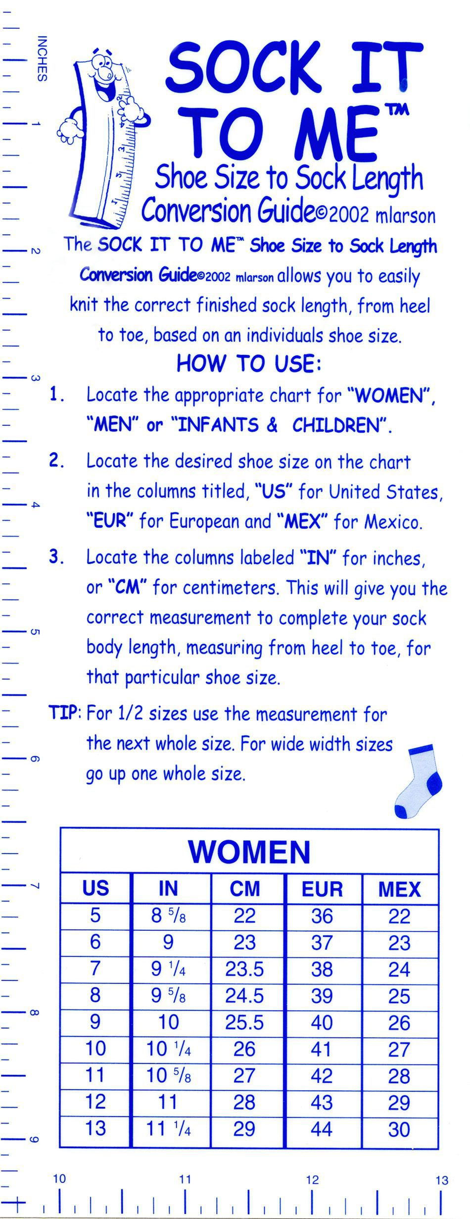 Sock it to me shoe size to sock length conversion guide knitting sock it to me shoe size to sock length conversion guide image b nvjuhfo Images