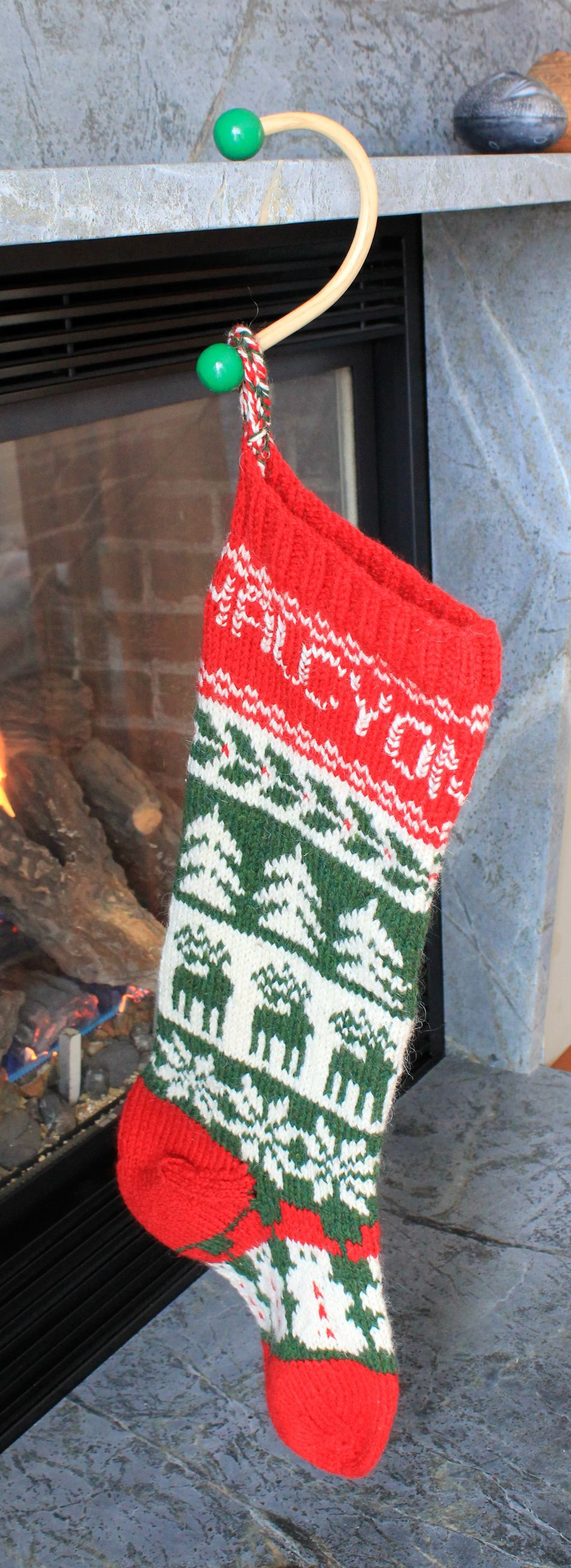Sock hook evergreen knob christmas stocking holder dark