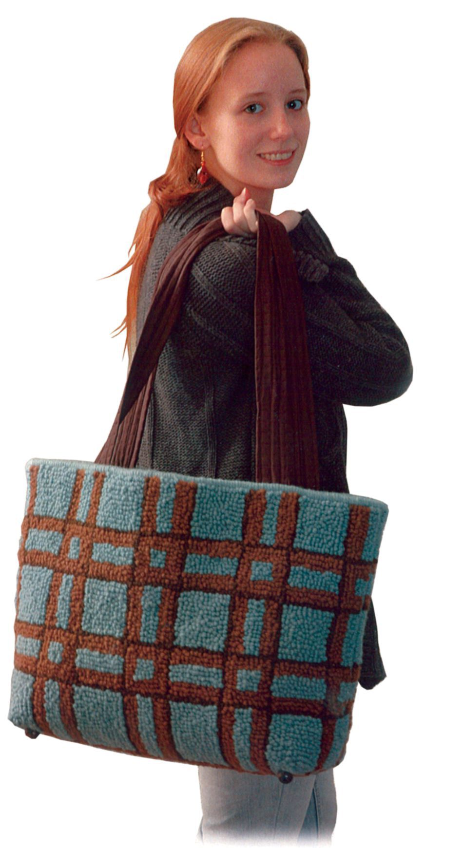 Rug Making Patterns Large Plaid Tote Pattern Only Punch Needle