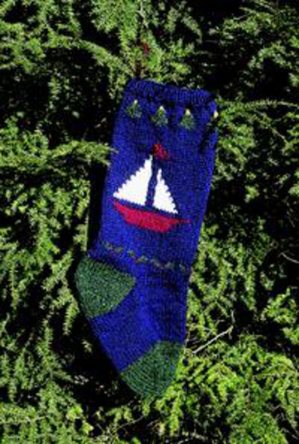 Christmas Stocking Knitting Kits : Sailboat christmas stocking kit knitting halcyon yarn