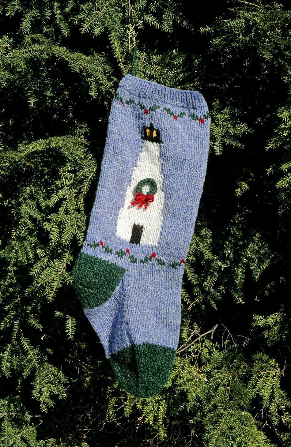 Christmas Stocking Knitting Pattern Straight Needles : Lighthouse christmas stocking kit knitting halcyon yarn