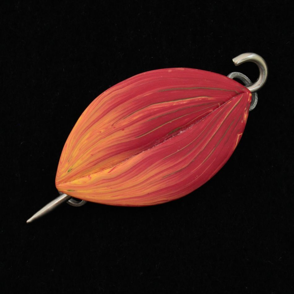 MultiCraft Equipment Flame Hosta Shawl Pin by Bonnie Bishoff Designs