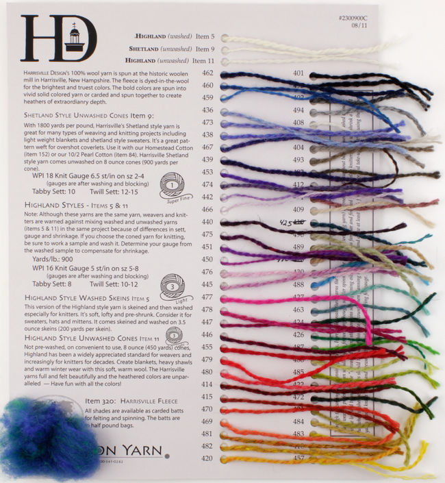 Harrisville Fiber for Felting and Spinning - Sample Card