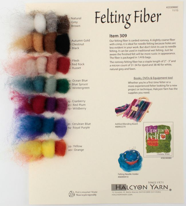 Romney Felting Fibers - Needle and Wet Felting Fibers - Sample Card