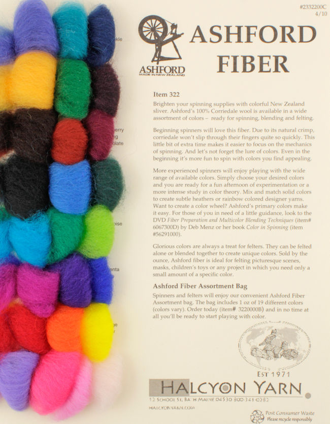 Ashford Wool Roving, Beautifully Dyed Fibers for Spinners and Felters - Sample Card