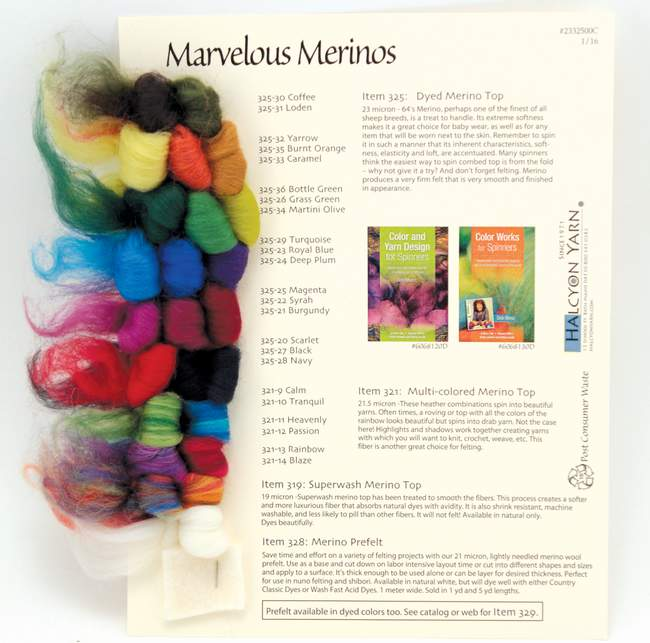 Marvelous Merinos, Colorful Fibers for Spinning and Felting - Sample Card
