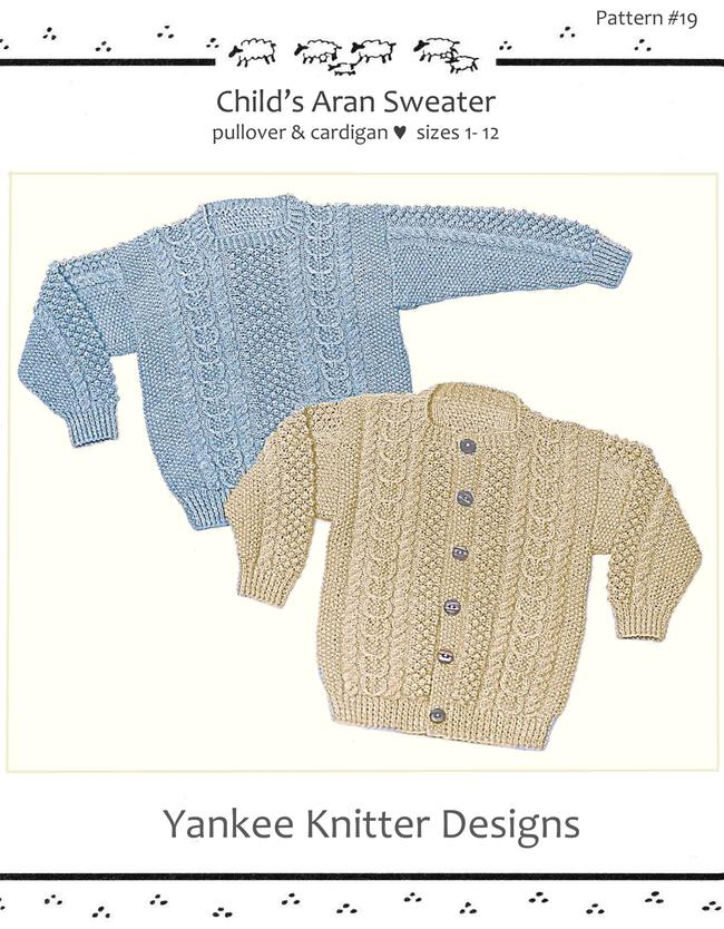 Knitting Patterns Child's Aran Sweater in Pullover and Cardigan - Yankee Knitter