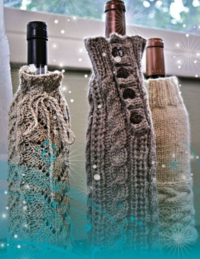 Wine Bottle Cozy Knitting Pattern : Fiber Trends - Wine Bottle Cozies, Knitting Pattern - Halcyon Yarn