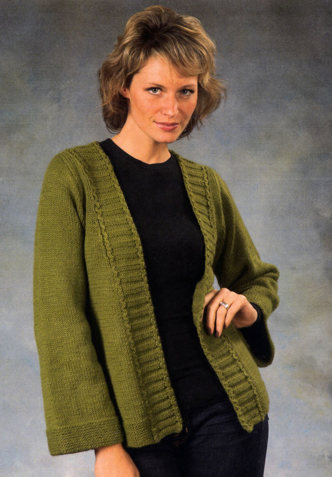 Knitting Pattern For Kimono Cardigan : Womans Kimono Sweater, Knitting Pattern - Halcyon Yarn