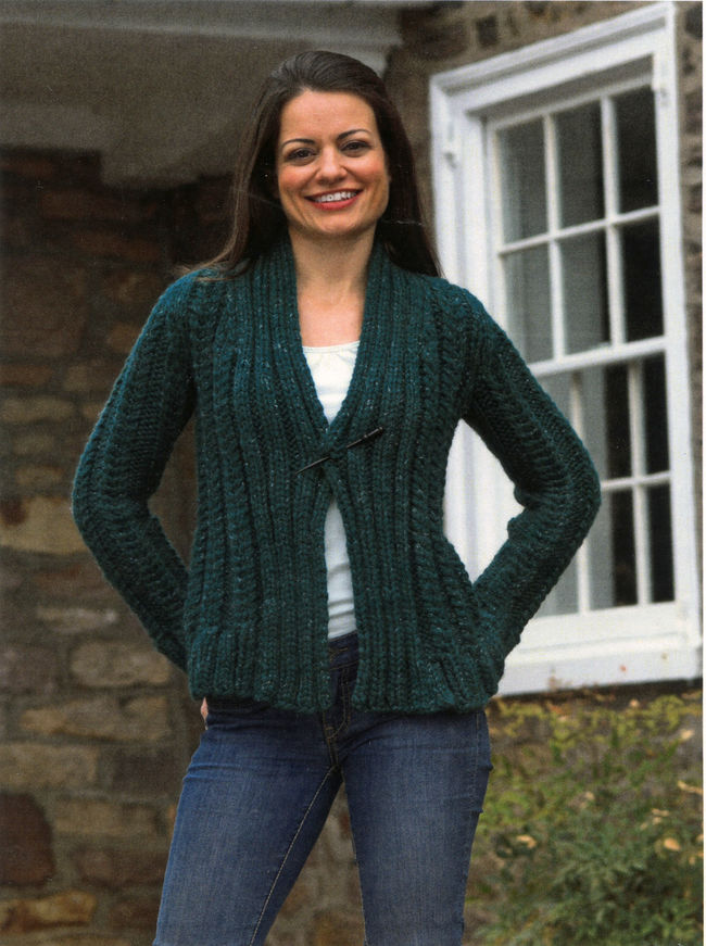 Women s Cardigan Knitting Pattern : Womens Super Bulky Cabled Cardigan, Knitting Pattern - Halcyon Yarn