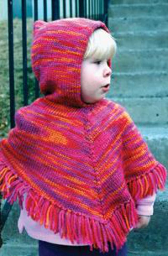Childrens Knitting Patterns : Childrens Hooded Poncho by Knitting Pure and Simple, Knitting Pattern ...