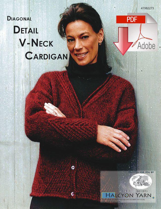 Diagonal Detail V-Neck Cardigan -Pattern download ...