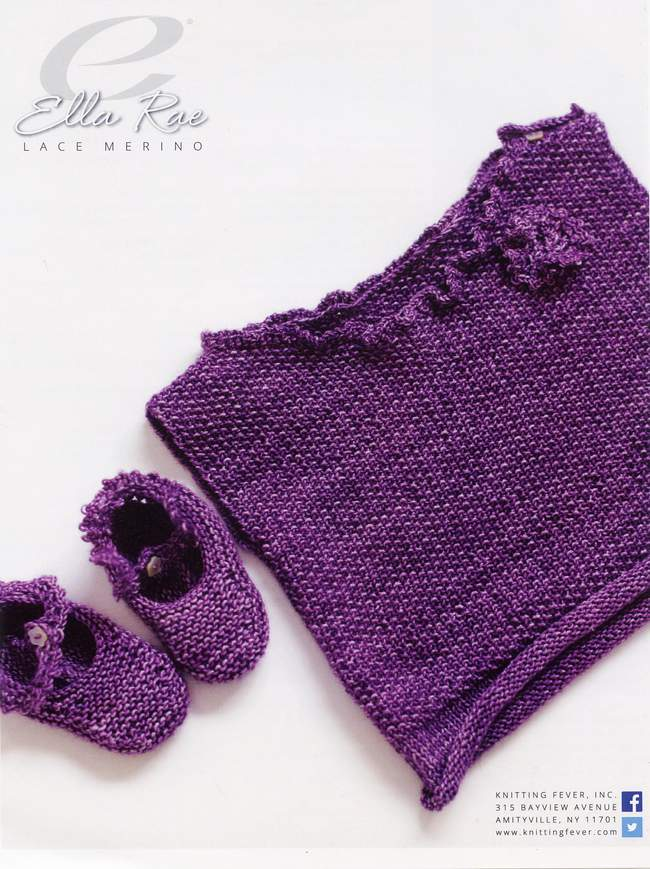 Lace Baby Booties Knitting Pattern : Baby Booties and Vest - Ella Rae Lace Merino, Knitting Pattern - Halcyon Yarn...