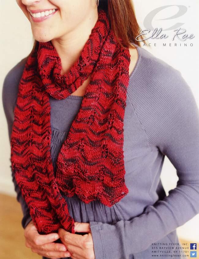 Knitting Patterns Wave Scarf : Wave Pattern Scarf - Ella Rae lace merino, Knitting Pattern - Halcyon Yarn