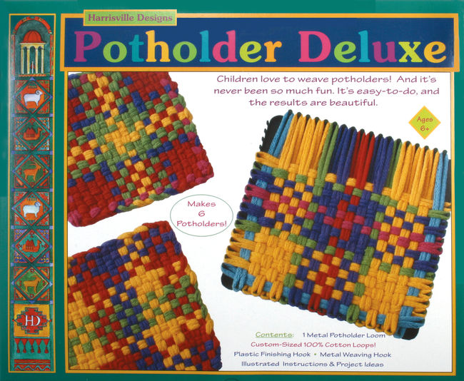 Deluxe Harrisville Potholder Loom Kit - Cotton Loops (makes 6)