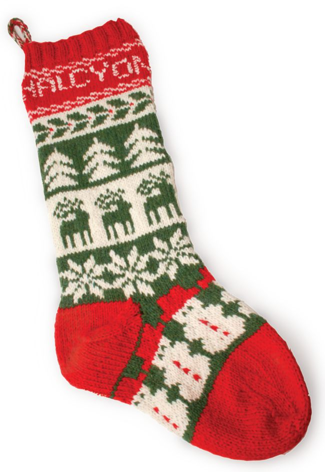Knit Pattern For Christmas Stocking Kit : Halcyon Christmas Stocking Kit, Knitting Kit - Halcyon Yarn