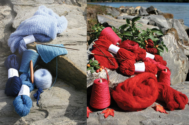 Halcyon Yarn signature yarns on the banks of the Kennebec river, showing reds and blues