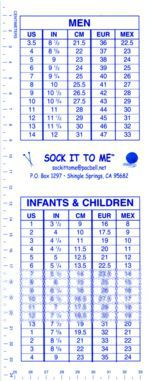 Sock It To Me Shoe Size to Sock Length Conversion Guide (image A)