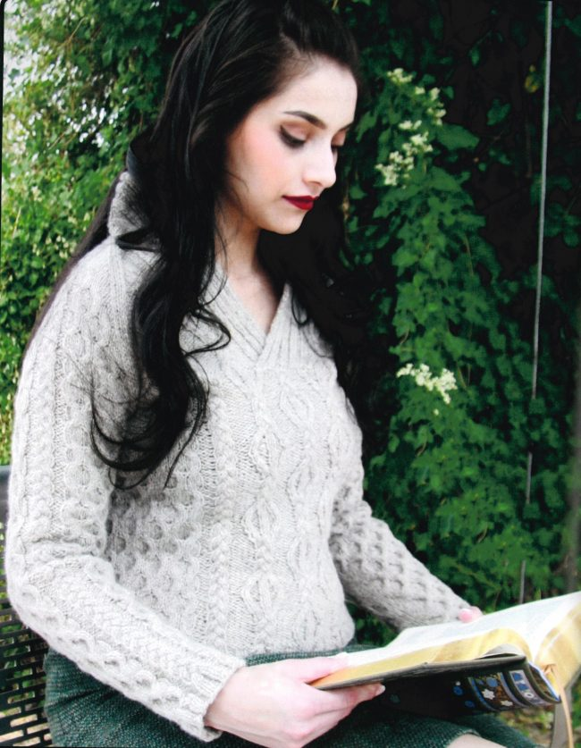 a98dfe882 The Beaton pullover above is knit in the round from the bottom up and  features a seamless shawl collar. Knit out of Harrisville Highland Yarn -  Washed ...