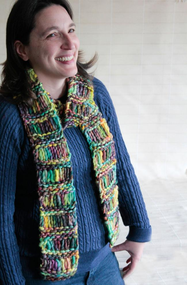 one-skein dropped stitch merino scarf