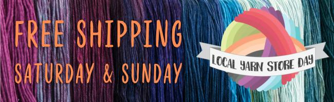 LYS Day Free Shipping logo on background of yarn